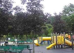 The playground at Christopher Morley provides a variety of activities.