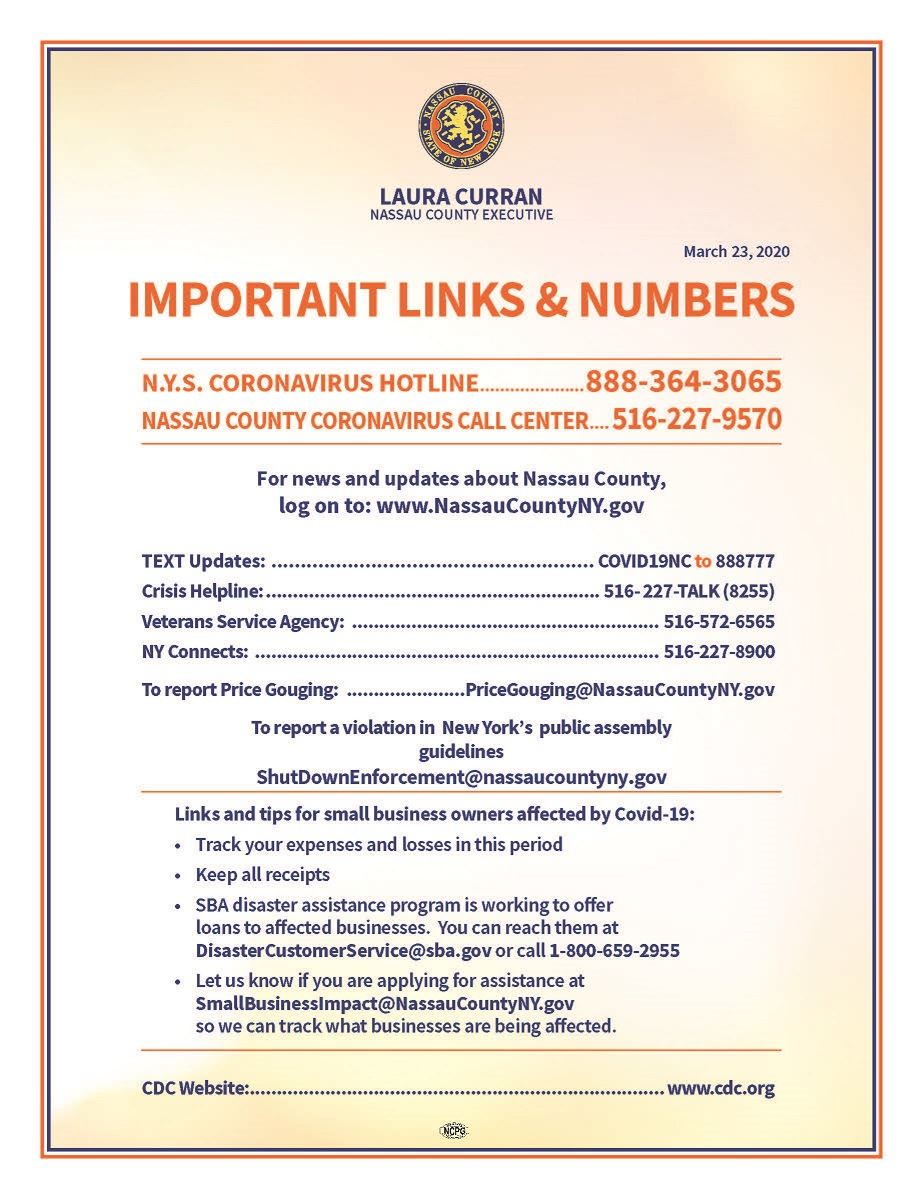 Nassau County COVID-19 Important Links and Numbers Opens in new window