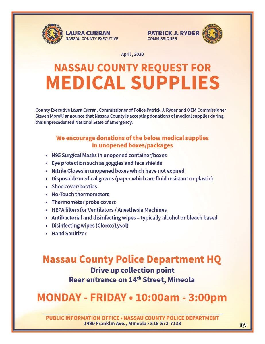 Nassau County Medical Supply Donations Opens in new window
