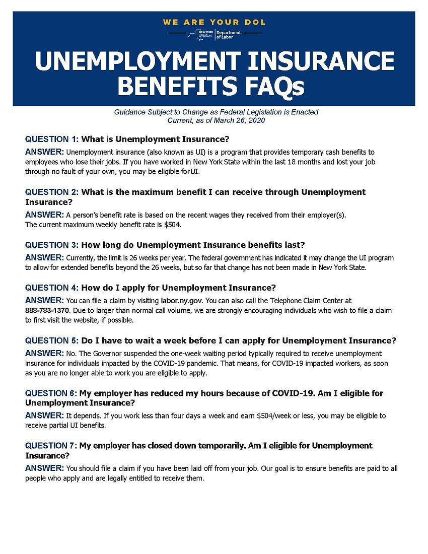 NYS Department of Labor Unemployment Insurance FAQ Page 1 Opens in new window