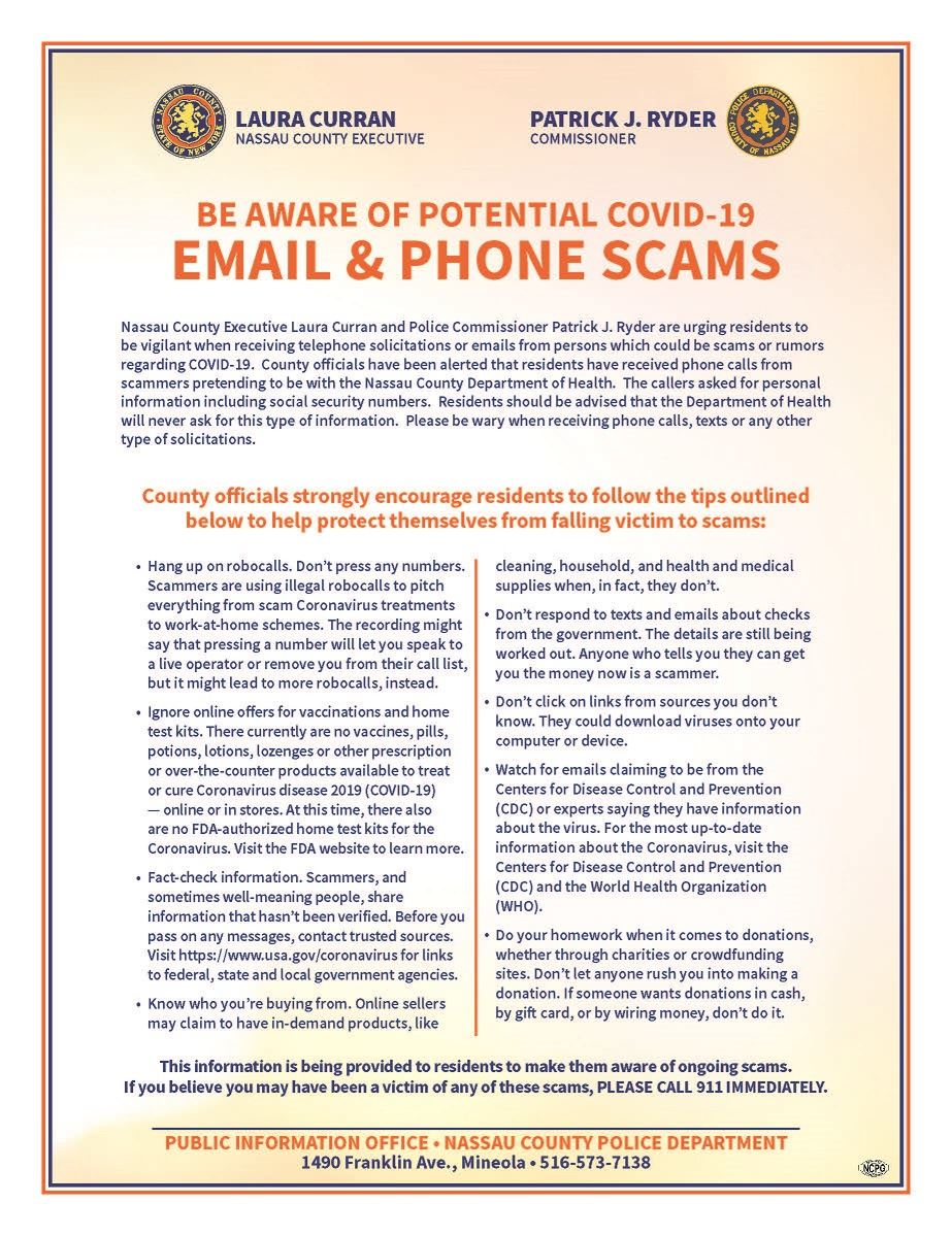 BE AWARE OF POTENTIAL COVID-19 SCAMS Opens in new window