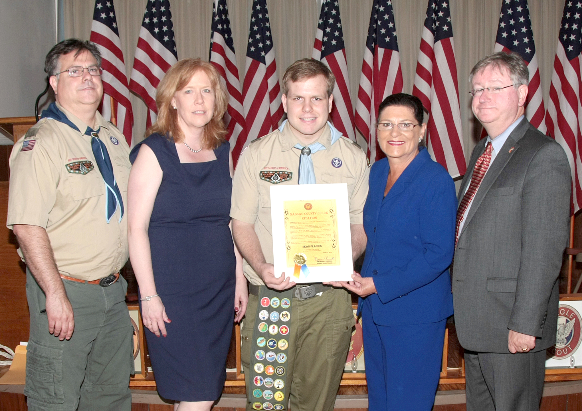 Nassau County Clerk Maureen OConnell joined Boy Scout Troop  116 of Valley Stream at their Eagle Scout Court of Honor Ceremony for Sean Plackis