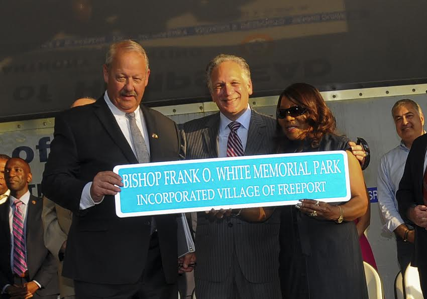 Mangano and Kennedy Attend Ceremony to Rename Northeast Park in Freeport to Bishop Frank O. White Memorial Park